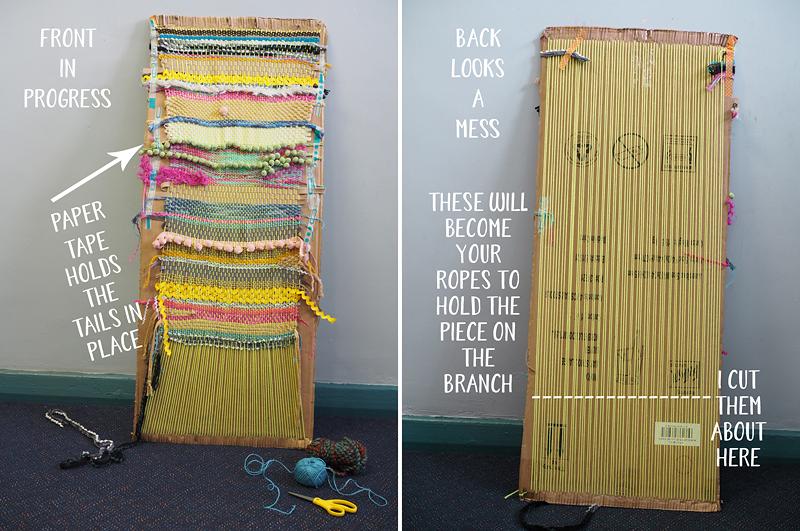 Primary school collaborative art project. Weaving on a cardboard loom in progress.
