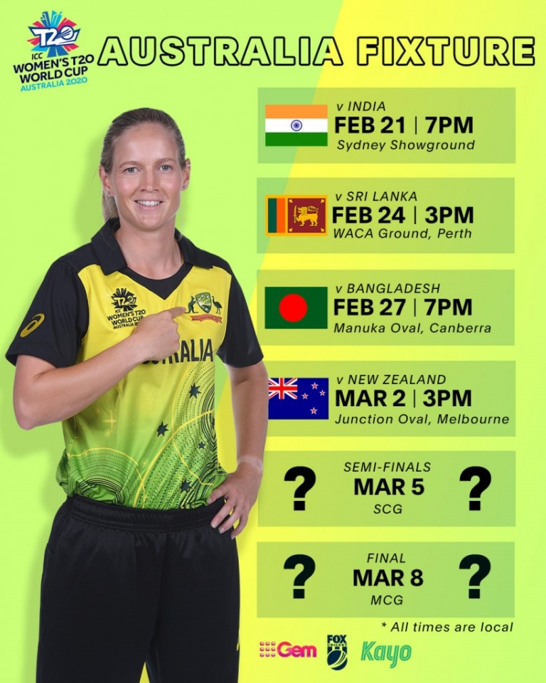 Australian fixture for the ICC Women's T20 Cricket World Cup with a photo of captain, Meg Lanning and the dates of the Australian games.